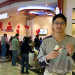 Dardy with his free cup of Red Mango yogurt and mochi balls.
