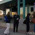 Jared greets a voter at the Wagon Road Park N Ride in Westminster, Colorado.